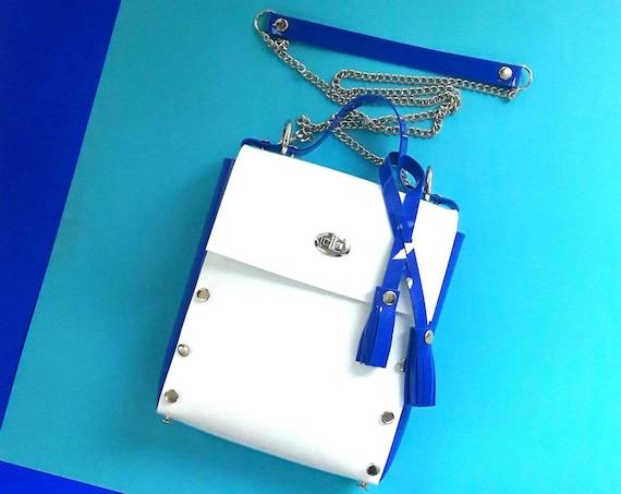 White and blue messenger bag, vegan pvc bag, nautical messenger bag, minimalist tassel bag, crossbody minimal bag, gift for woman, stachel