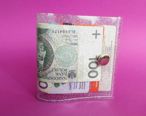 Transparent clear vegan wallet with iridescent holographic glitter, 90s vibeas fashion, gift for vegan, vegan cashier wallet, kawaii cute