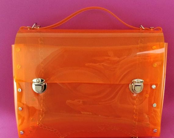 Transparent orange messenger bag for standard letter paper size, vegan satchel for students, fashion bag, safety orange glamorous bag