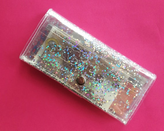 Clear wallet with holographic confetti, glitter cashier wallet, holographic coin purse, vegan big wallet, card coin bills holder, vinyl