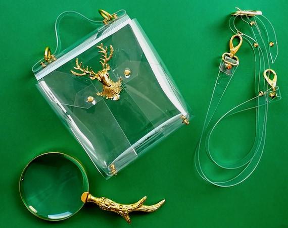 Transparent clear small messenger bag with vintage deer metalwork, retro style stadium handbag, vegan unique messenger purse, gift for vegan