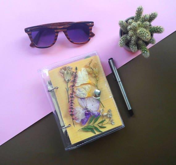 Planner binder with notepad, pressed flower terrarium notebook, back to school unique binder, gift for nature lovers, botanical sketchbook