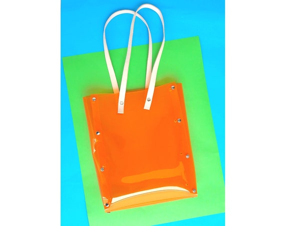 Clear orange tote bag, transparent tote bag, plastic transparent shopper bag, modern vinyl bag with leather straps, modern everyday bags
