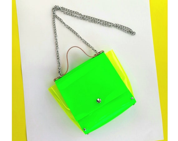 Neon green messenger bag, cyber neon messenger bag, fluorescent green crossbody, psycho punk soft gothic style, pale grunge unique handbag