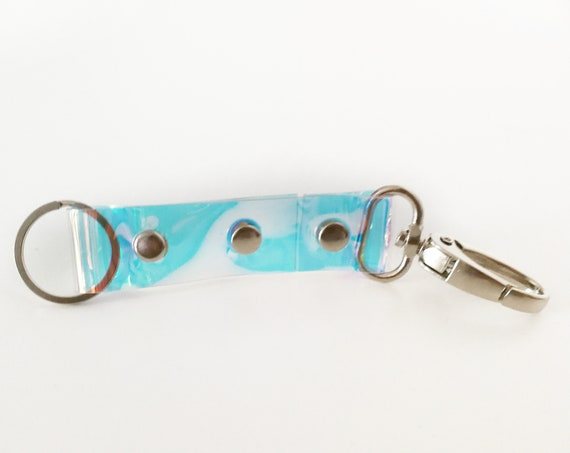 Clear keyfob, holgraphic keyring,smoked vegan  keyhook, transparent keys holder, keychain with snap hook, small gift idea, gift for mermaids