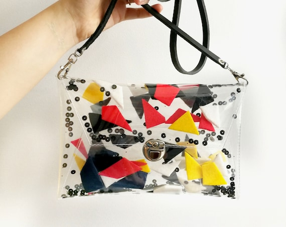 Abstract style bag, for art girl, korean style accessories, random geometric bag, felt and sequins, colorful handbag with moving interior