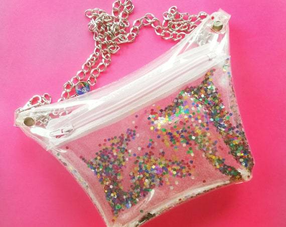 Confetti fanny pack, glitter waist bag, festival style bag, colorful hip bag, 90s  belly pouch, transparent waist bag, cute kidney bag