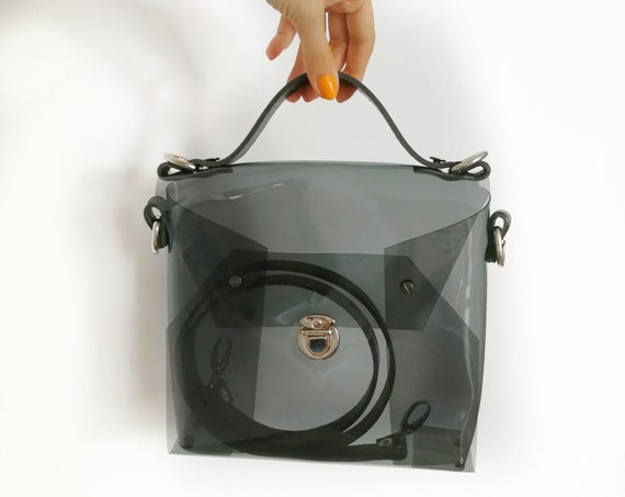 Crossbody smoked black bag, messenger bag, medium transparent black bag, minimalism handbag, vinyl minimalist purse, shoulder modern bag