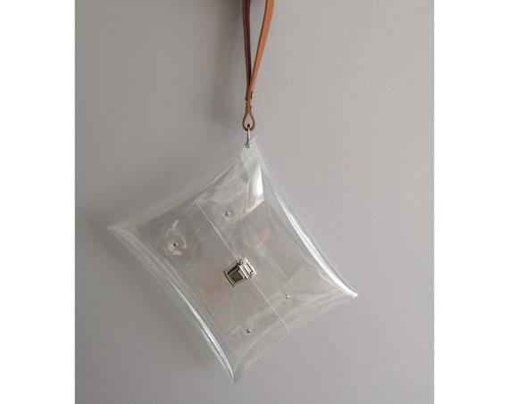 Big clear wristlet, stadium clutch, leather strap bag, catch tuck clasp purse, minimal style bag, see through, premium nfl style handbags