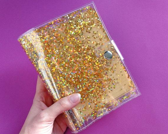 Cute holographic gold glitter notebook, girl boss notepad, iridescent sketch book, gift for vegan girlboss, rainbow binder for unicorn, 90s