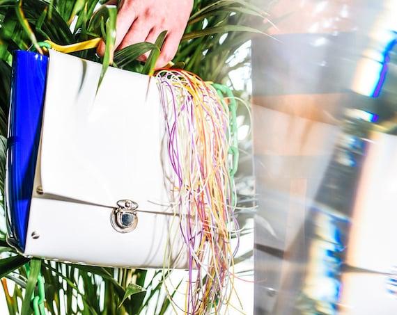 Unicorn mane handbag, colorful unique purse bag, unique design bag, vegan bag for art lover, OOAK, unicorn hair, gift for vegan, messenger