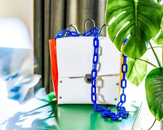 Handbag for art lover, medium size crossbody, vinyl purse bag, unique design bag, OOAK handbag, mondrian inspired, color blocking, for art