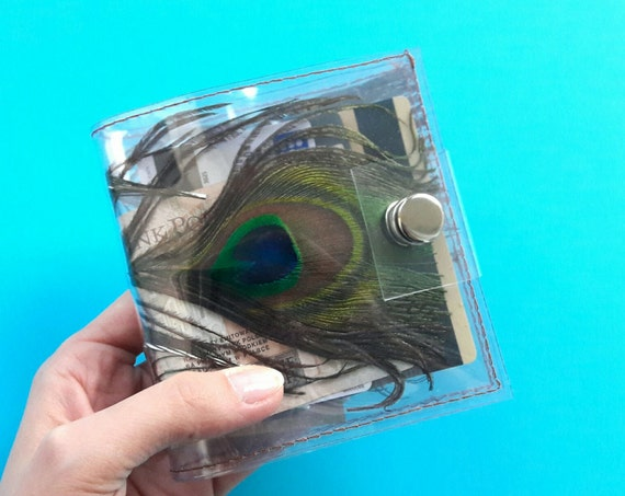Peacock card holder, Feathers wallet, Gift for Woman, ID holder credit Card holder, vinyl wallet, unique holder, peacock feathers holder