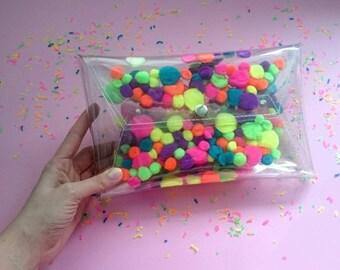 8222774c2b Pom pom bag for pompons sandals mascot fluffy bag handbag neon bag purse  cute envelope hanbags party bag fuzzy weird bag uniqe bag clutches
