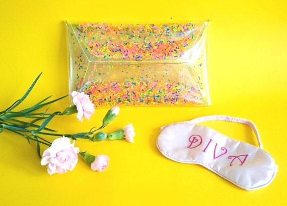 Neon clutch, Rainbow bags, fluorescent handbags, Unicorn bag, colorful jelly bag, 90s party bag, cute confetti purse, OOAK, vegan handbag,