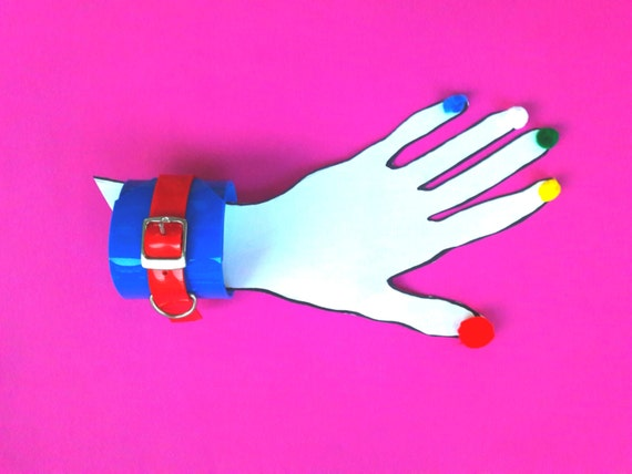 Vinyl cuff PVC handcuff  vinyl 4 of july partiotic 90s cyber Gothic punk cuff bracelet fetish lollita psycho rockabilly red blue vegan