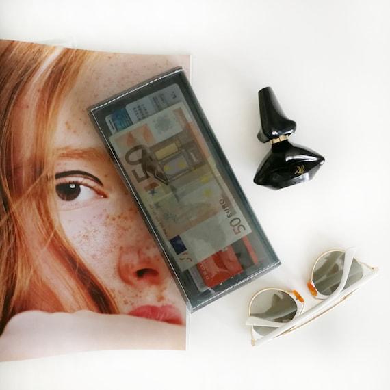 Black wallet, transparent wallet, card holder, coin purse, minimalist wallet, coin holder, big womens wallet, black accessories, vegan