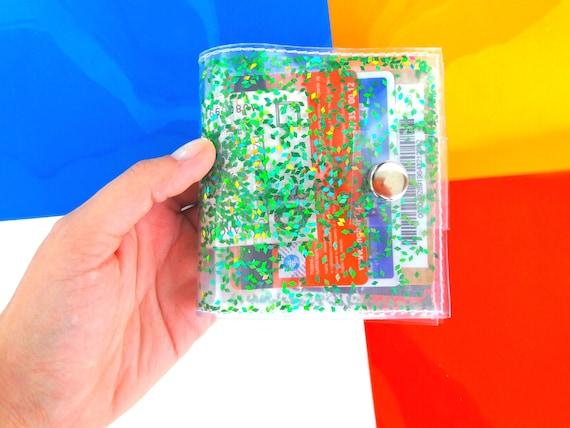 Green wallet Iridescent Glitter wallet Business Card Holder Gift Card Holder mermaid vinyl ID holder vegan playboy 90s cashier wallet vegan
