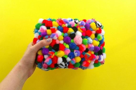 Pom pom clutch pompons mascot fluffy bag handbag neon purse kawaii cute pom pom sandals party evening bag fuzzy weird bag uniqe summer bag