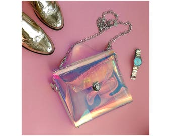 Holographic neon pink crossbody messenger bag, iridescent 90s bag, cyber bag, mermaid messenger bag, vegan bag, soft grunge bag, OOAK