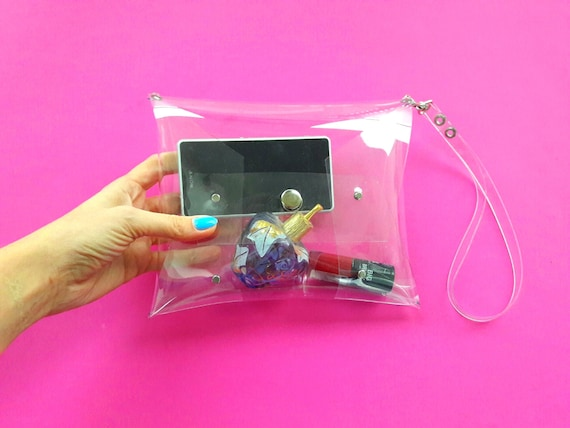 Clear wristlet bag, NFL policy bag, stadium wristlet clutch, vegan minimalist clutch, simple envelope bag, transparent small purse, 90s bag