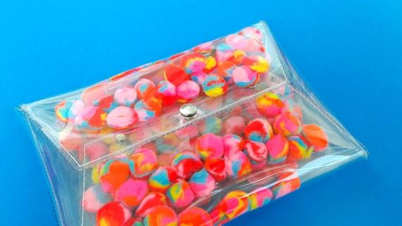 Rainbow pom pom bag pom pom bag purse clutch cute 90s style bag kawaii rainbow bag unicorn bag colorful cotton candy handbag OOAK vegan bag