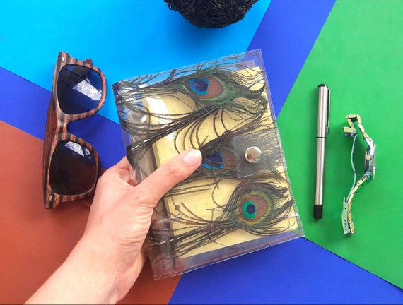 Peacock journal, peacock feather notebook, A6 Peacock Refillable, unique A6 binder, personal diary, feather memory notepad, gift for woman,