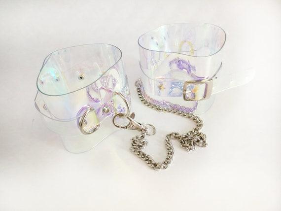 Holographic PVC handcuff  vinyl handcuffs Transparent 90s cyber Gothic cyber 90's cuff bracelet fetish lollita psycho