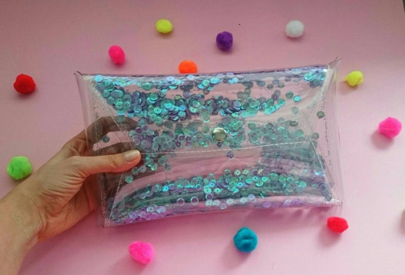 Sequins clutch sparkle Clear purse transparent party bag clutch mermaid jelly 90s bag glitter harajuku violet bag iridescent bag nf clutch
