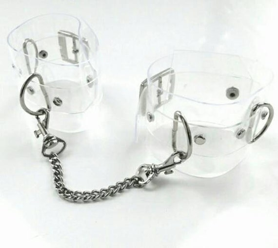 Clear PVC handcuff  vinyl handcuffs Transparent 90s cyber Gothic cyber 90's cuff bracelet fetish lollita psycho