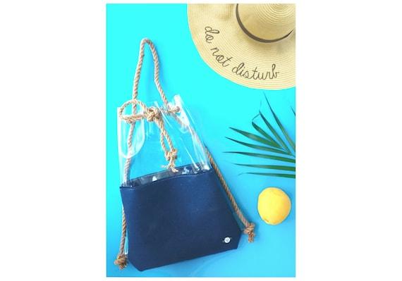 Navy blue bag, nautical felt bag, nautical style, clear backpack, Bucket Bag,Tote Bag, rope bag, navy blue bagpack, hobo Bag, Felt Tote ooak