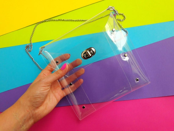 Sporting Event Concert transparent square bag,clear crossbody football, clear see thru crossbody purse, vegan minimal with chain, NFL style
