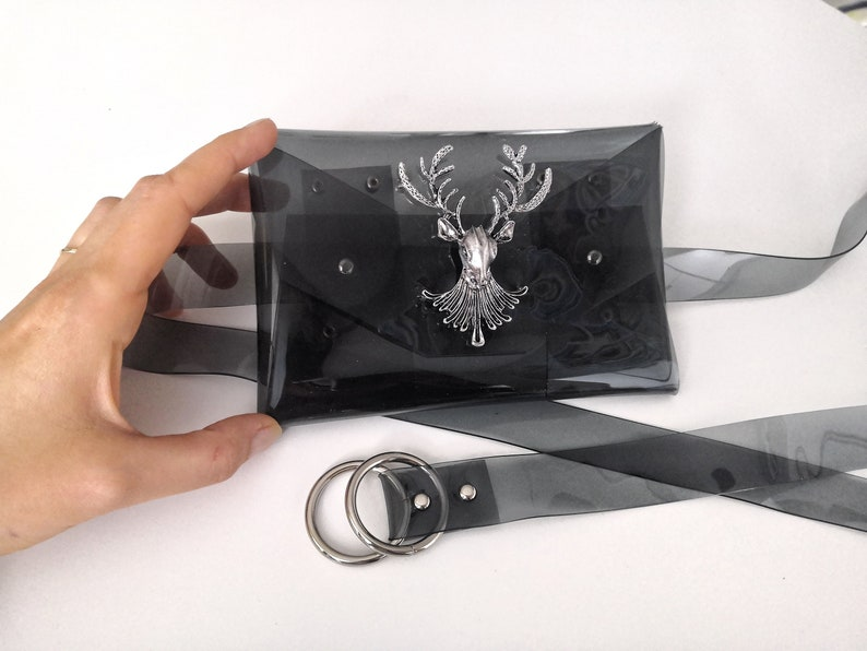 Slim belt purse with retro deer metal work cute fanny pack festival bags belly pouch small hip bag waist bag holster bag 90s style
