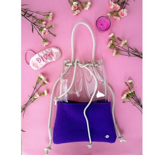 Ultra violet Bucket Bag, purple backpack, Everyday Bag, vegan, shoulder bag, backpack bucket bag, felt drawstring bag, clear backpack, vegan