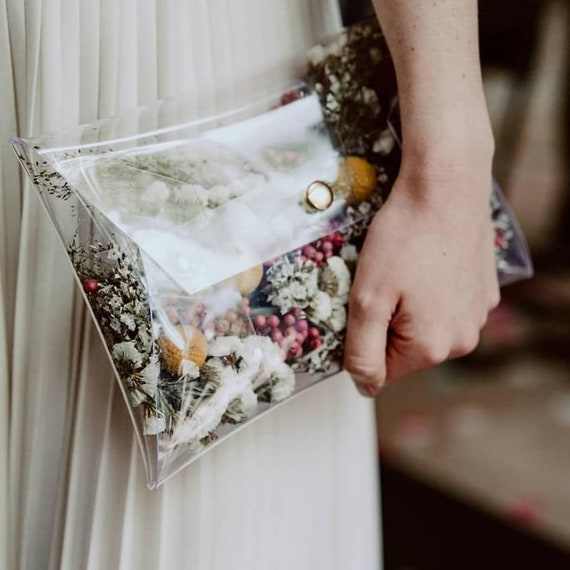 Unusual wedding bag idea, handbag for the bride, original wedding,  transparent purse for floral diy, floral wedding, vegan wedding purse