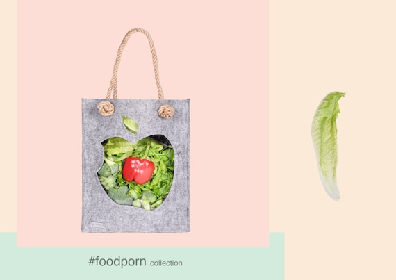 Felt tote, Felt Bag, Tote Bag, Felted bag, Market Bag, Funny bag, Eco friendly bag, bag with apple transparent, Joga bag, Funny bag, totes