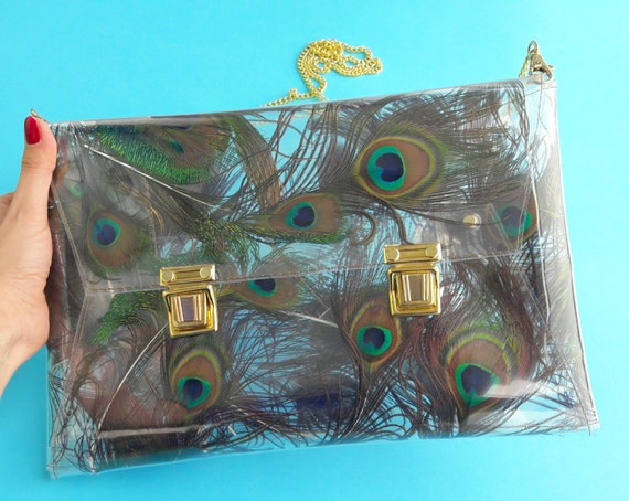 OOAK peacock bag gift for woman glamorous handbag Peacock envelope clutch bag unique clutch with real peacock feathers and gold clasp