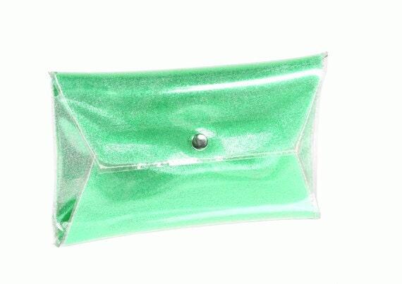 Green clear clutch glitter bag handbag sparkle purse  prom sparkle bag party bag bag metallic hanbags party elegant bag vinyl event purse