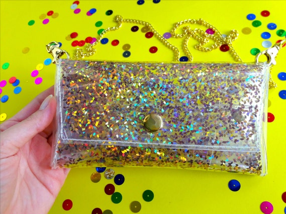 Holographic crossbody bag, Phone bag, Small crossbody, vegan Cellphone Bag, 90s party, gold clutch, metallic gold bag, iphone 7, iphone 6