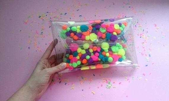 Pom pom bag for pompons sandals mascot fluffy bag handbag neon bag purse cute envelope hanbags party bag fuzzy weird bag uniqe bag clutches