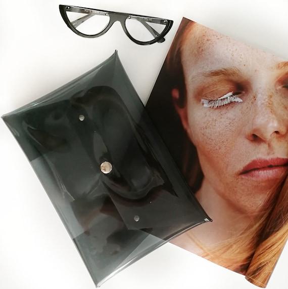 Smoked clear clutch, transparent black bag, plastic see thru purse, envelope clear, vegan handbag, simple minimal design, minimalist purse