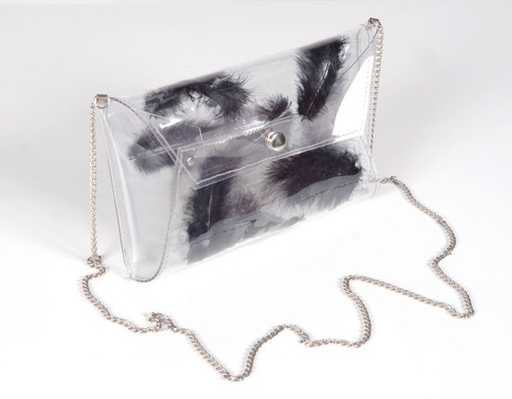 Clear plastic bag with real black feathers, Unigue clutch, unique bags,  gothic bag, punk rock bag, glamrock bag, feathers bag, black soul