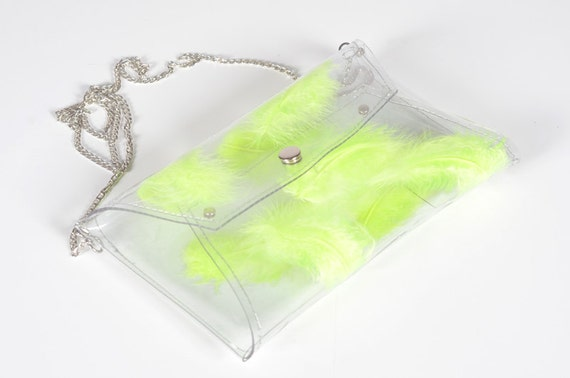 Clear Bag clear clutch envelope bag with neon yellow lime lemon real feather transparent purse envelope with chain crossbody prom bright bag