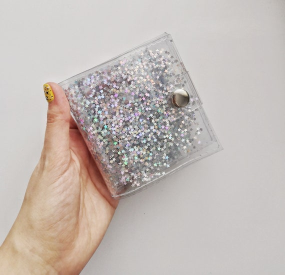 Holographic  stars iridescent Wallet Glitter vinyl wallet money ID holder credit Card holder transparent coin Purse coin holder card holder