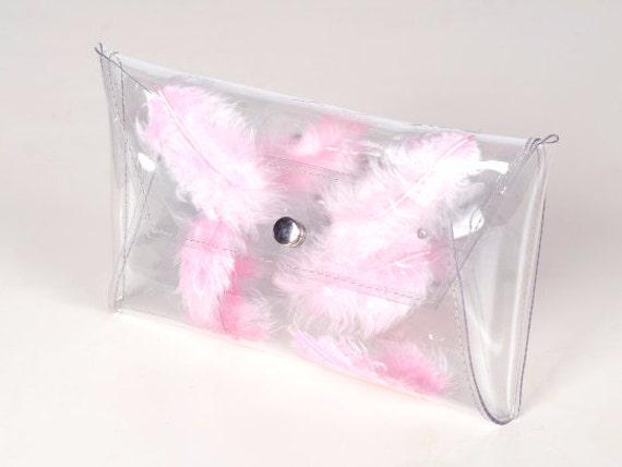 Light pink clutch, clear bag with pastel pink feathers, brides bag, unique clutch, pastel pink purse, pink bridesmaid clutch, cute handbag