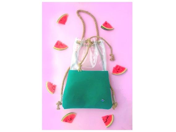 Rope bag, bucket bag, shoulder bag, backpack bucket bag, felt drawstring bag, hobo tote bag, green bag, clear backpack, emerald green, vegan