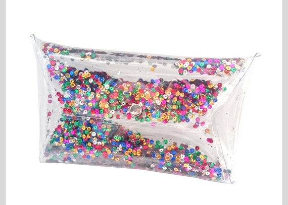 Sequin clutch Clear purse bag transparent 90's glitter clutch glitters sequins jelly rainbow purse evening bag prom sparkle party rainbow