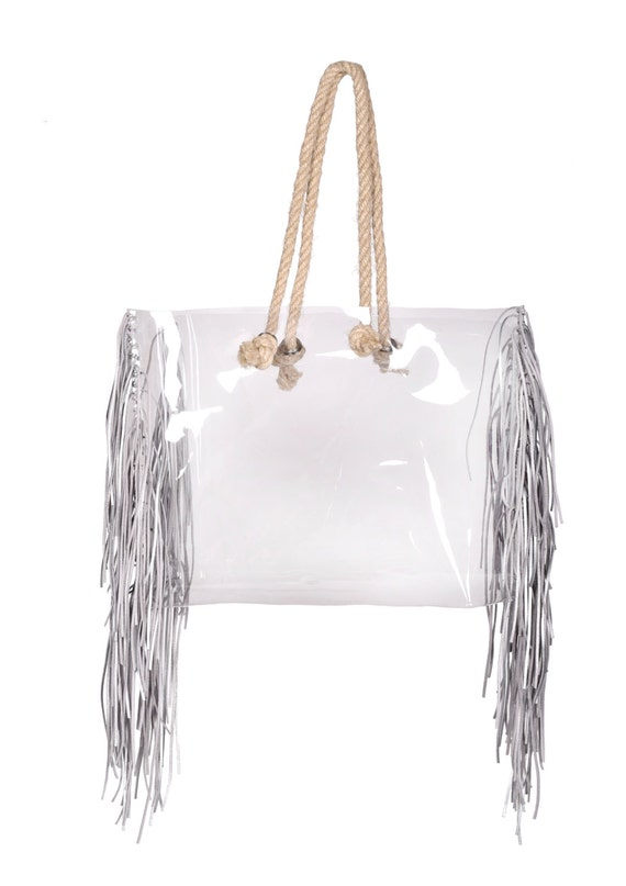 Clear beach bag Shopper transparent bag with jute rope clear handbag shopping tote bag oversized bag fringe bag tassles stylish nfl style