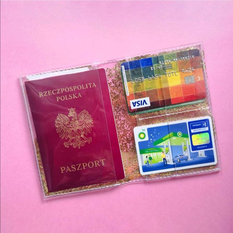 Gold Passpor wallet vacation gifts Easy to disinfect travel case vegan travel gifts card holder confetti passport cover traveler