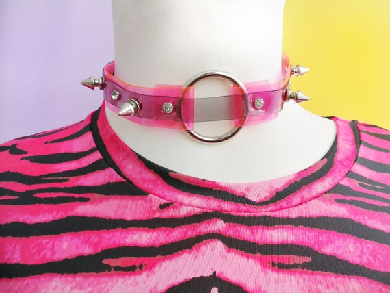 Spike slave choker, bdsm collar, pink black, o ring necklace, 90s style, pastel goth, harajuku accessories, rave style, festival fashion